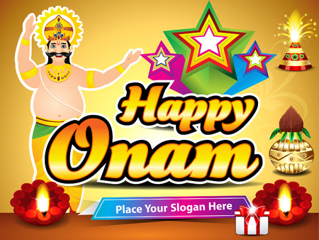 pookolam: happy onam background with king mahabali vector illustration