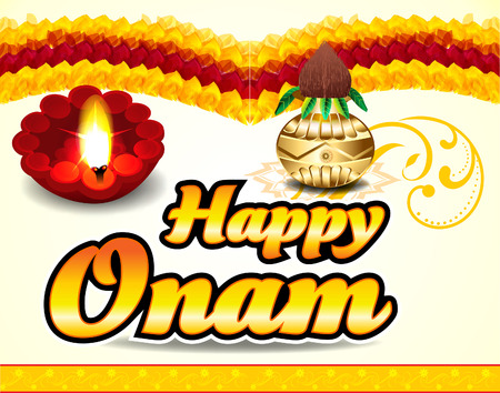 transitional: happy onam celebration background with floral vector illustration