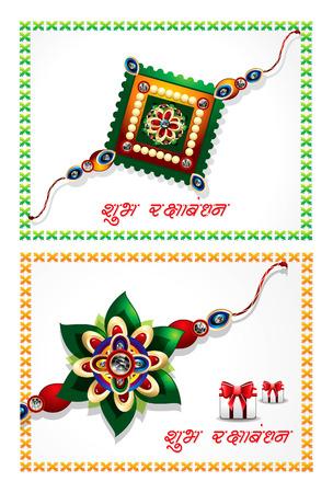 tied girl: abstract raksha bandhan celebration background set vector illustration Illustration