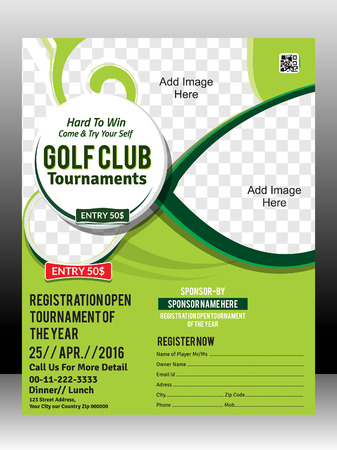 club flyer: golf tournament flyer template design illustration