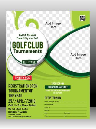 golf tournament flyer template design illustration