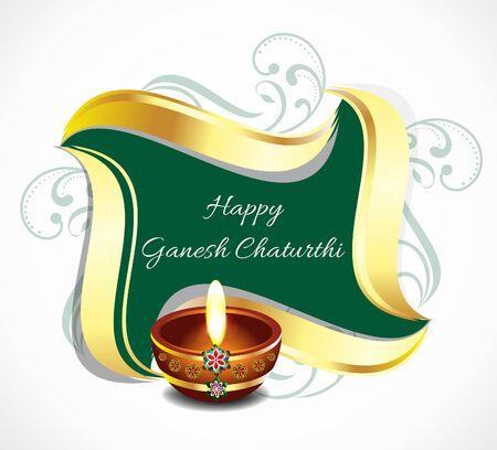 deepak: happy ganesha chaturthi celebration celebration banner background vector illustration