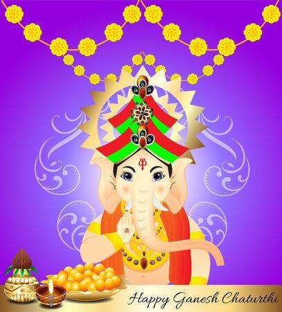 lord ganesha: happy ganesha chaturthi celebration background with lord ganesha vector illustration Illustration
