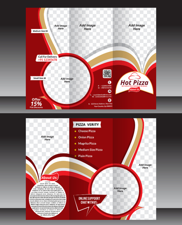 tri fold: tri fold hot pizza brochure template vector illustration Illustration