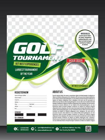 golf volante torneo ilustración tarjeta vector