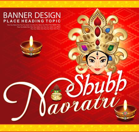 mano de dios: Shubh fondo navratri con Durga diosa ilustraci�n vectorial Vectores