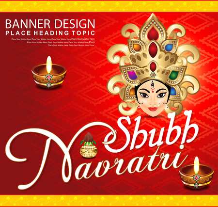 asian and indian ethnicities: shubh navratri background with godess durga vector illustration Illustration