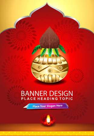 mangal: indian celebration background with kalash vector illustration Illustration