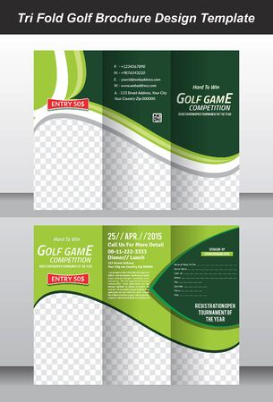 website template: tri golf brochure template design vector illustration Illustration