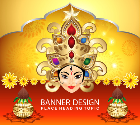 devotion: navratri celebration background with goddess durga vector illustration