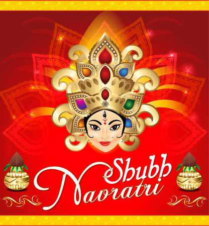 celebration background: happy navratri celebration background with face of goddess durga
