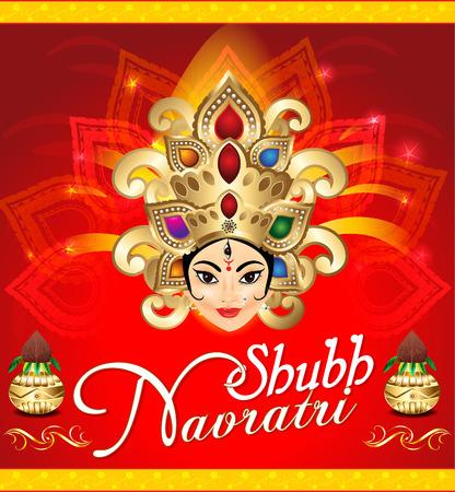 mahishasura: happy navratri celebration background with face of goddess durga