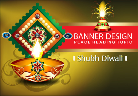 ghatashtapana: diwali celebration background with cracker vector illustration