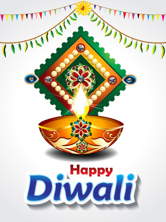 mangal: happy diwali celebration background with mango leaf vector illustration Illustration