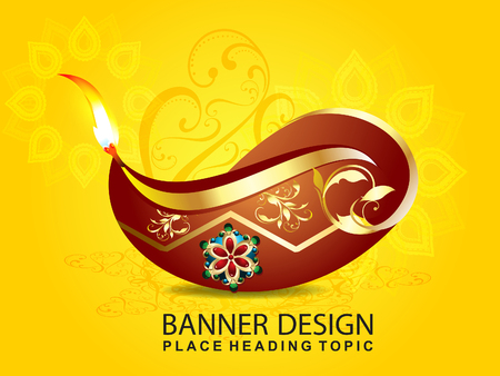 diwali celebration: shubh diwali celebration background with floral vector illustration Illustration