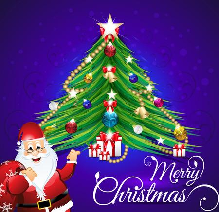 christmas tree illustration: merry christmas backgroud with christmas tree vector illustration