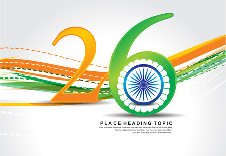 asoka: 26 January republic day background design illustration Illustration
