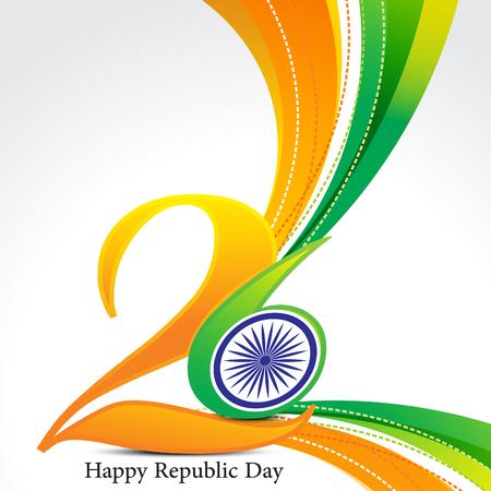 republic: happy republic day wave background illustration Illustration