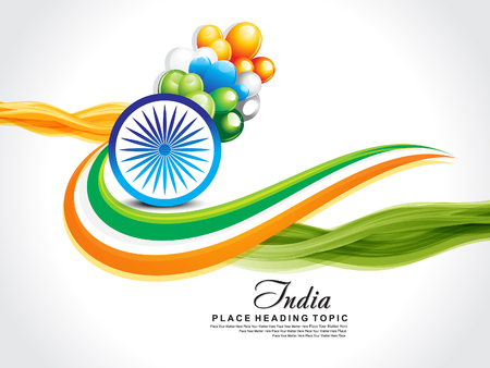 asoka: happy republic day wave background with ashok chakra vector illustration