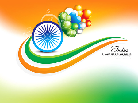 asoka: happy republic day wave background with balloon vector illustration