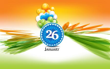 shiny day: 26 January text background with ashok chakta vector illustration