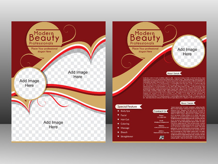 beauty spa: beauty Parlor Flyer template design & magazine cover vector llustration