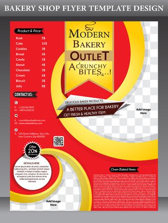 magazine design: bakery shop magazine design template Vector illustration