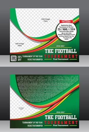 magazine design: football cup tournament template & magazine design illustration