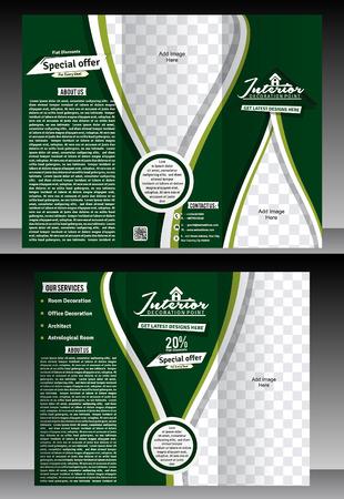 interior designer: Tri Fold interior designer Brochure template illustration