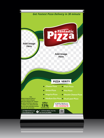 green banner: pizza store standing roll up banner illustration Illustration