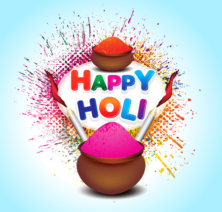 hindus: happy holi colorful background with color pot vector illustration