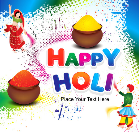 happy holi colorful background with grunge vector illustration