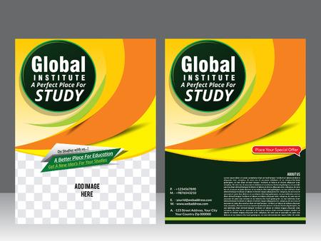 invitation barcode: global institute template & magazine vector illustration