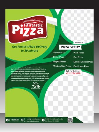 rollover: pizza template design & magazine vector illustration