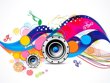 shaddow: abstract colorful musical background with speaker illustration Illustration