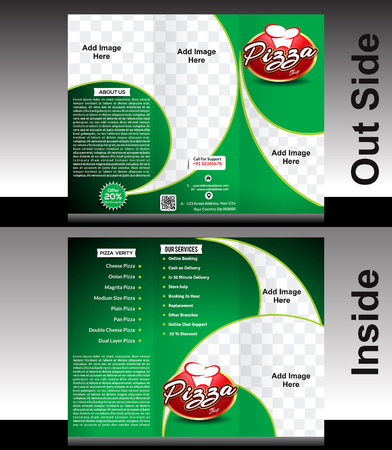 tri fold: tri fold Pizza Shop Brochure Template Design illustration
