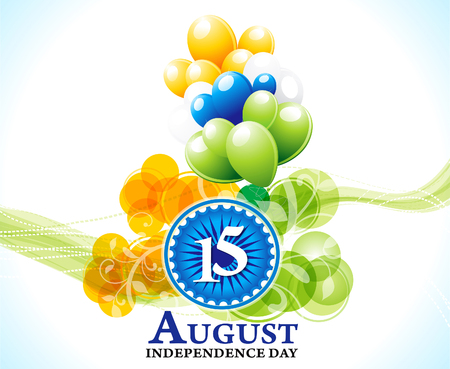 15 august: independence day 15 august background vector illustration