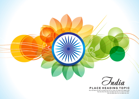 independence day 15 august background with flower vector illustration