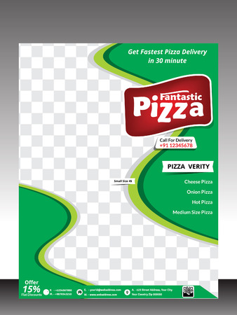 pizza store flyer template design vector illustration royalty free