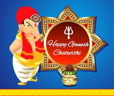 deepak: happy ganesha chaturthi banner background with lord ganesha vector illustration Illustration