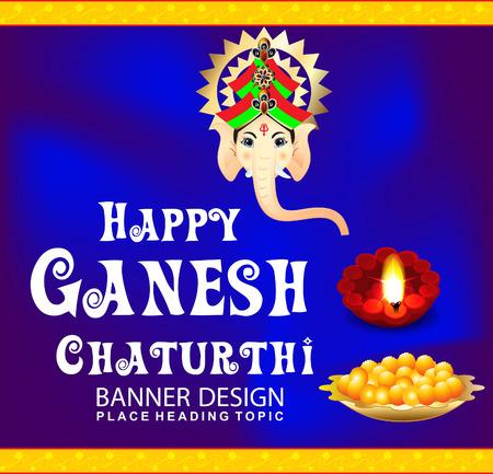 deepak: happy ganesha chaturthi celebration background with ganesha cartoon vector illustration