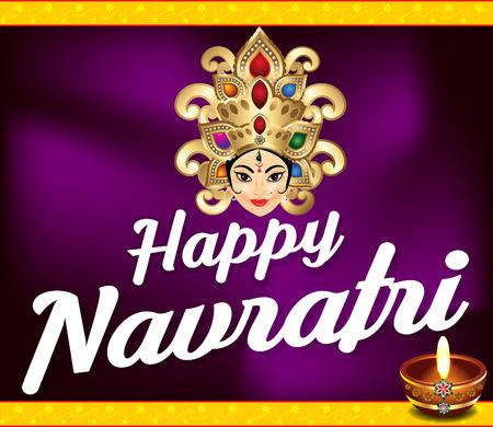 mahishasura: happy navratri background with deepak vector illustration Illustration