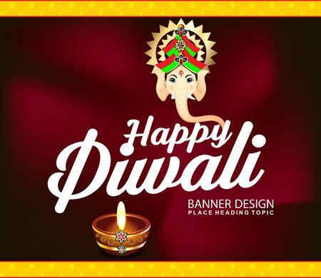 deepak: happy diwali celebration background with lord ganesha vector illustration Illustration