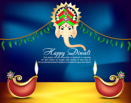 ghatashtapana: Happy Diwali Celebartion background With lord Ganesha vector illustration