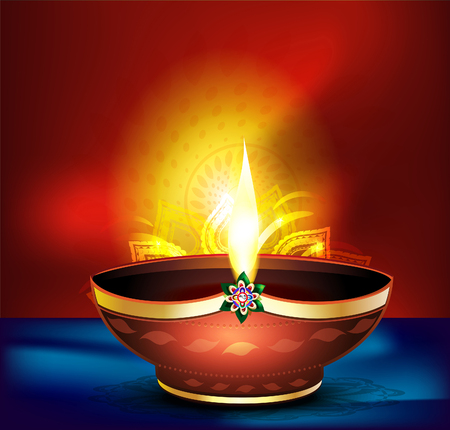 mangal: diwali celebration background with vector deepak vector illustration Illustration