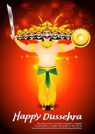 dashamukha: happy dussehra celebration background with fire vector illustration