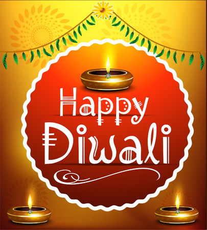 deepak: happy diwali festival background with deepak vector illustration Illustration