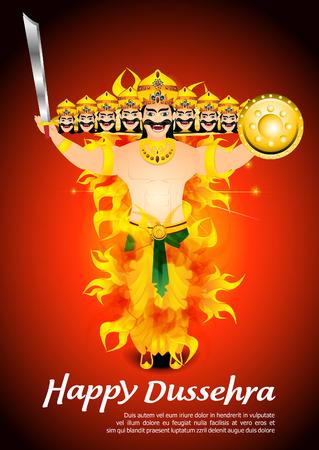 dashamukha: happy dussehra celebration background with flame Vector illustration