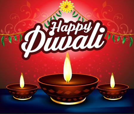 deepak: happy diwali  background with deepak Illustration