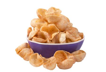 wheat cup & katori fryums in bowl image Stock Photo
